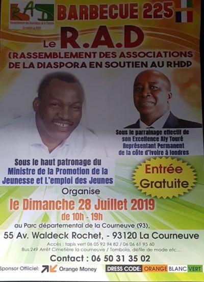 LE R.A.D (rassemblement des associations de la diaspora en  soutien au rhdp . (le dim 28 juillet 2019.)